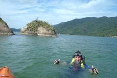 Canoagem até o ponto de snorkeling.
