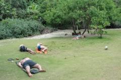 Descanso após a exaustiva trilha.