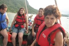 No barco, de volta para Paraty-Mirim.