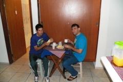 Café da manhã no hotel em Tremembé, instantes antes da partida.